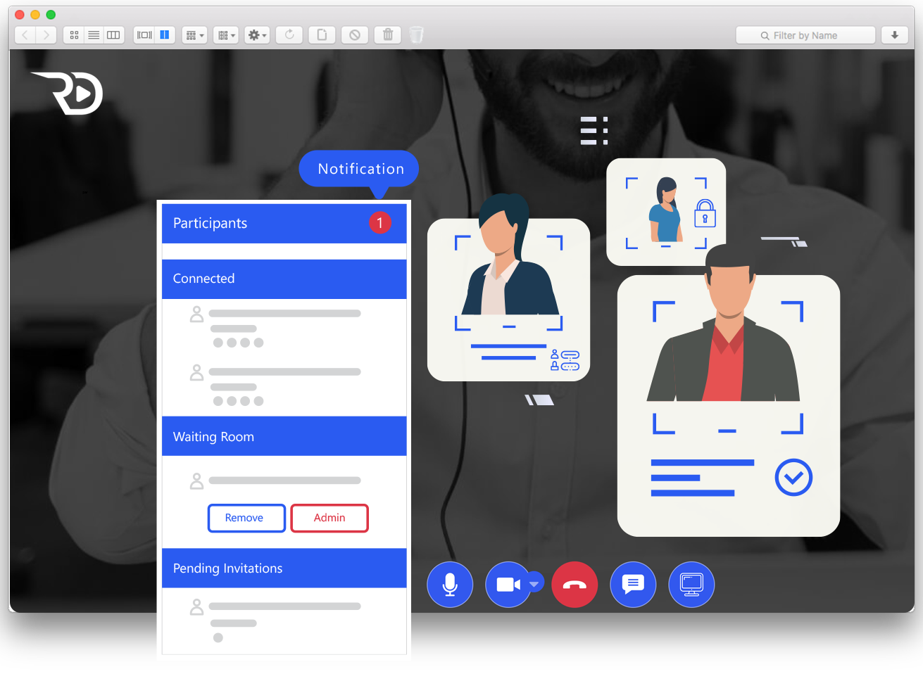 Roundesk Interface for Secure Online Meetings