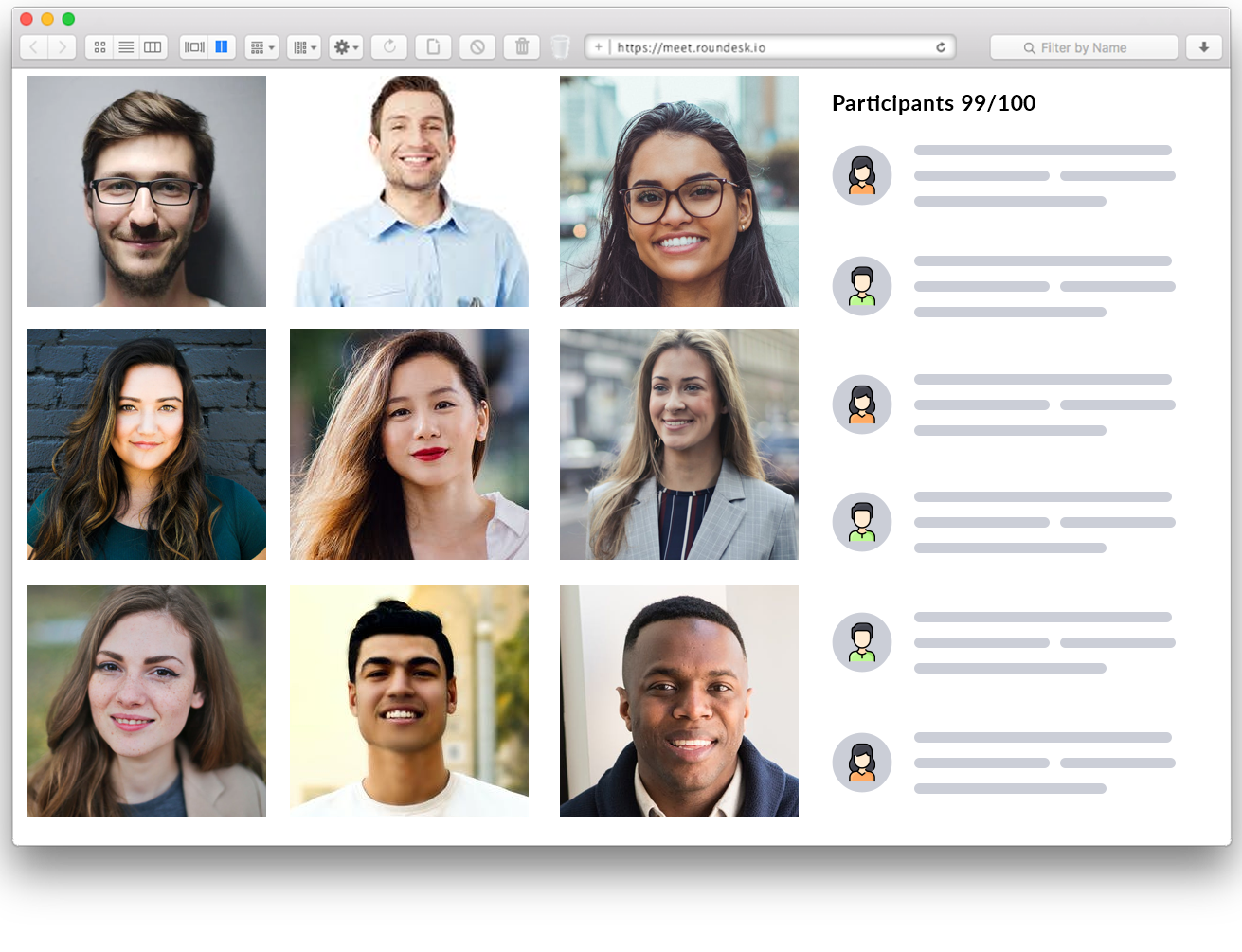 Roundesk Meet's interface is optimized for larger groups