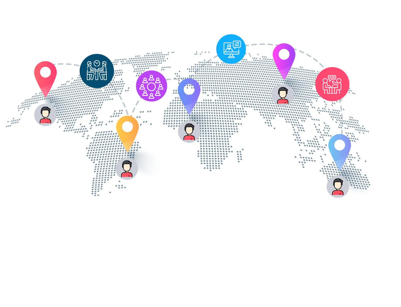 Illustration of how you can connect with people all over the world with Roundesk
